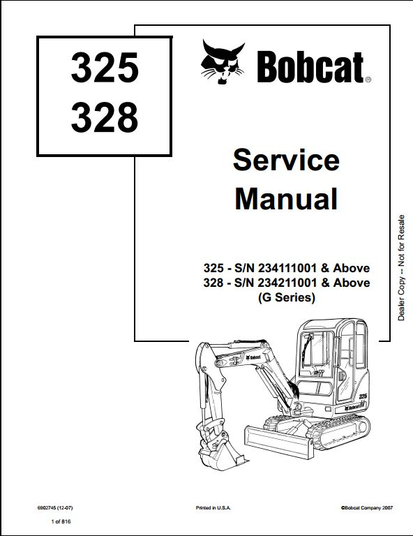 Bobcat 325  328 Compact Excavator Service Repair Workshop Manual 234111001