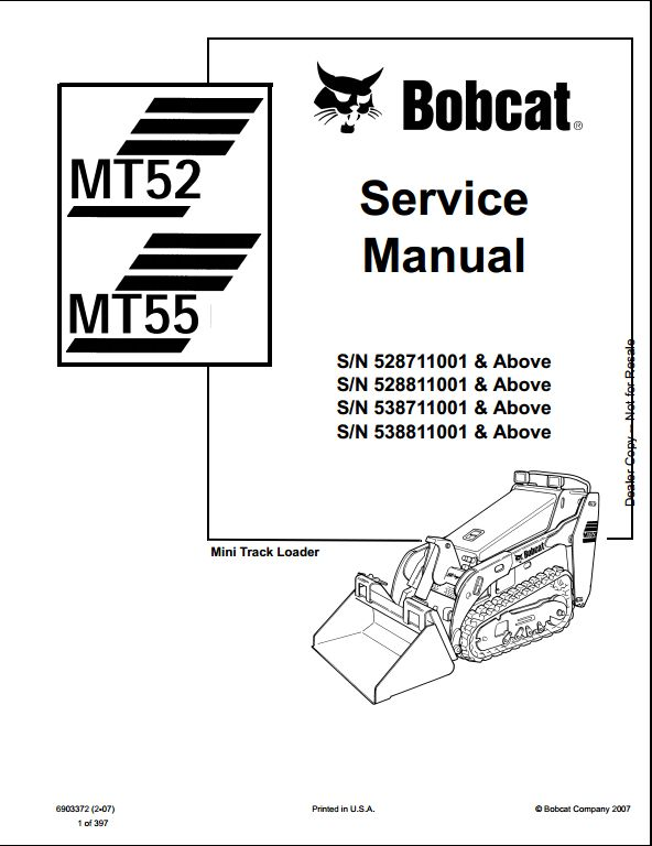 Bobcat Mt52mt55 Mini Track Loader Service Repair Workshop Manual 528711001 538811001