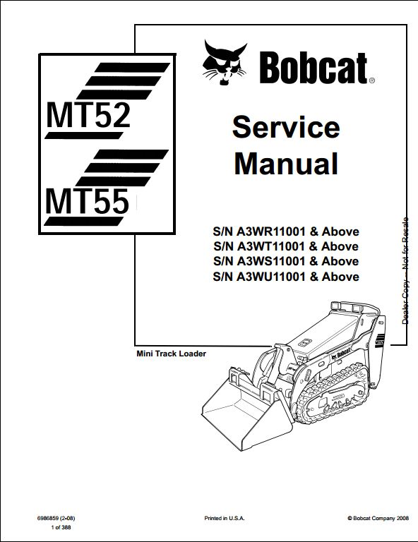 Bobcat Mt52 Mt55 Mini Track Loader Service Repair Workshop