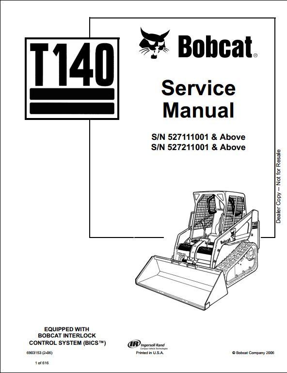 bobcat t140 turbo track loader service repair workshop
