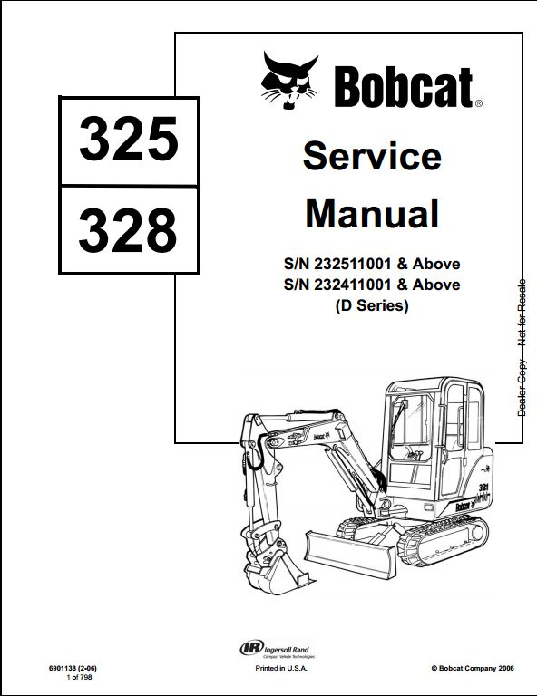 Bobcat 325  328 Mini Excavator Service Repair Workshop