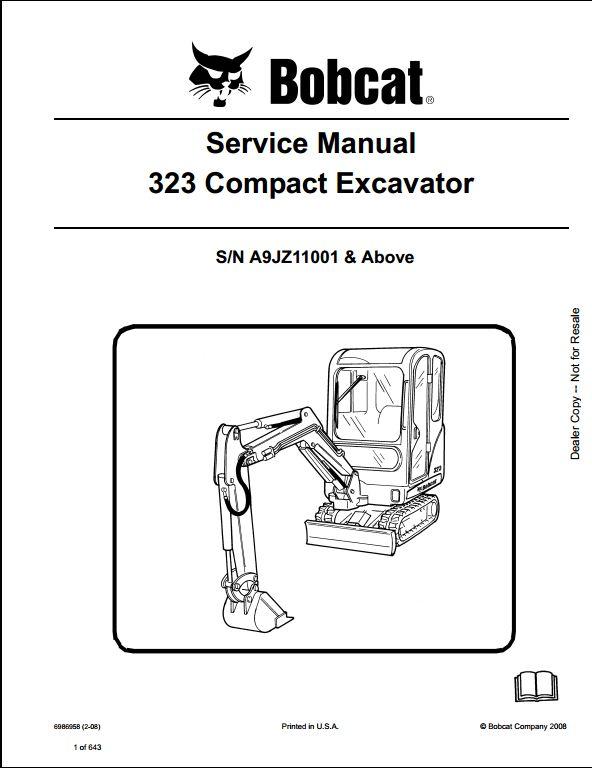 Bobcat 323 Compact Excavator Service Repair Workshop