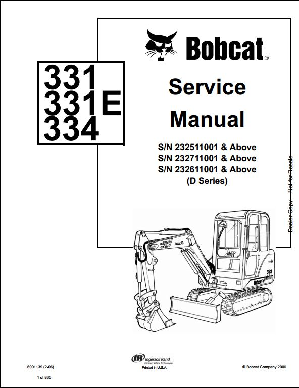 bobcat 331 331e 334 mini excavator service repair workshop