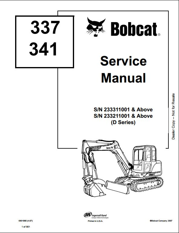 2007 bobcat 337 341 mini excavator service repair workshop manual 233311001