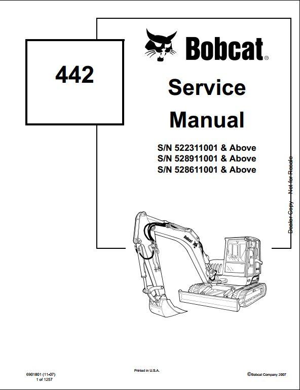 bobcat 442 mini excavator service repair workshop manual