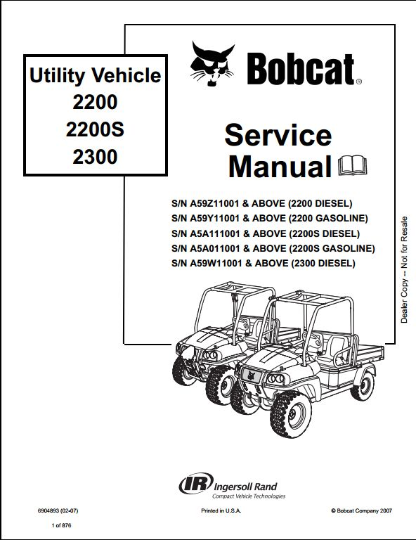 Bobcat 2200 2200s 2300 Utility Vehicle Service Repair