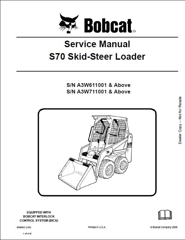 Bobcat S70 Skid Steer Loader Service Repair Workshop