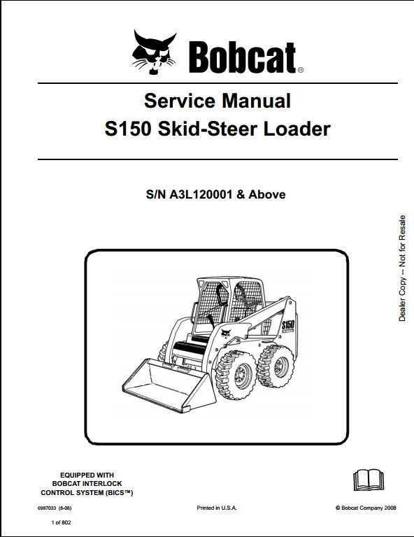 bobcat s150 skid steer loader service repair workshop manual a3l120001 a repair manual store