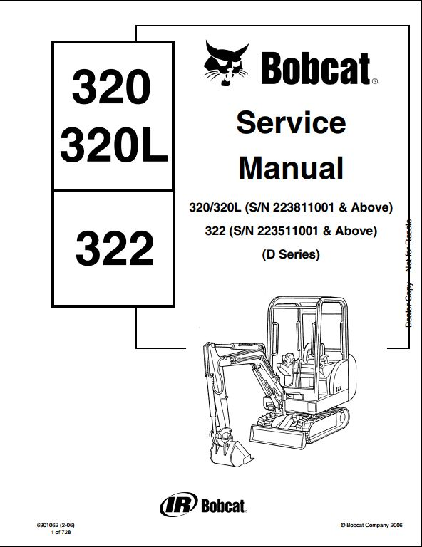 bobcat 320 320l 322 mini excavator service repair workshop manual rh arepairmanual com Cat 320L Specs Cat Construction Equipment