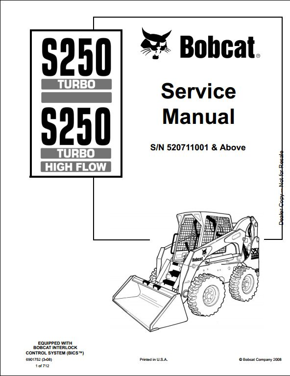 bobcat s250 turbo high flow skid steer loader service repair workshop manual 520711001