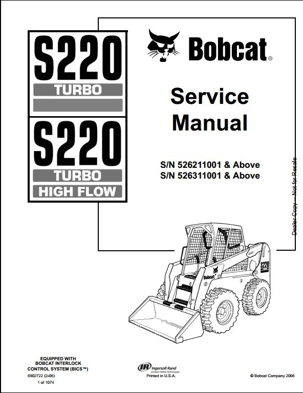 bobcat s220 turbo high flow skid steer loader service. Black Bedroom Furniture Sets. Home Design Ideas