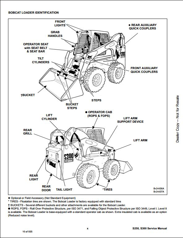 Bobcat S250 S300 Skid Steer Loader Service Repair Workshop Manual A5gm11001