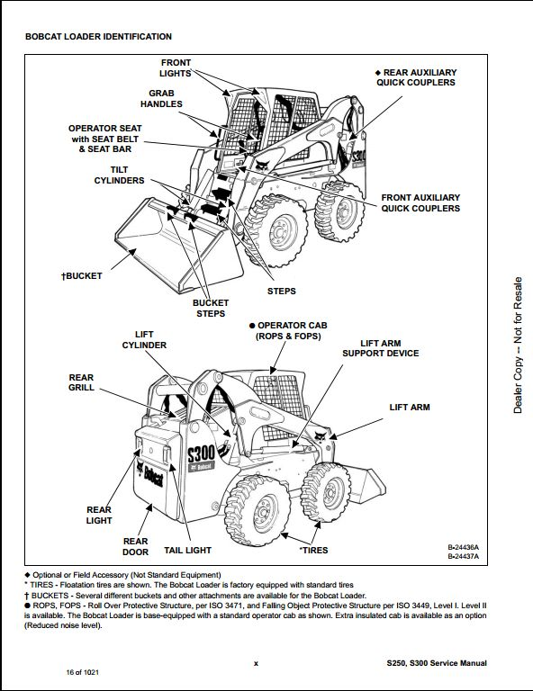 bobcat s250 s300 skid steer loader service repair workshop manual 530911001