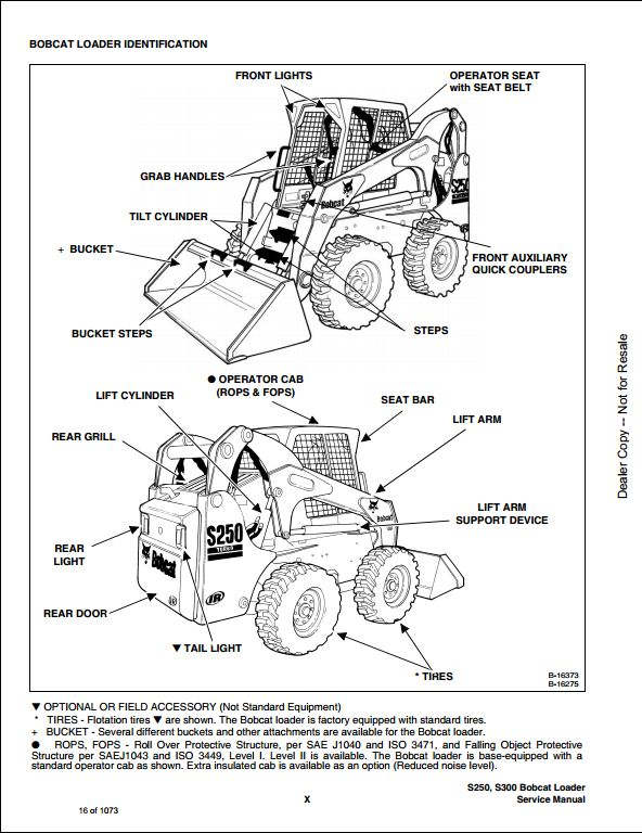 bobcat s250 s300 turbo high flow skid steer loader service repair workshop manual 526011001
