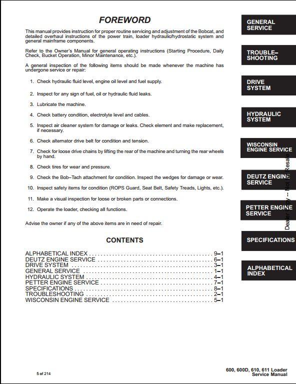 Bobcat 600 600d 610 611 Skid Steer Loader Service Repair Workshop Manual