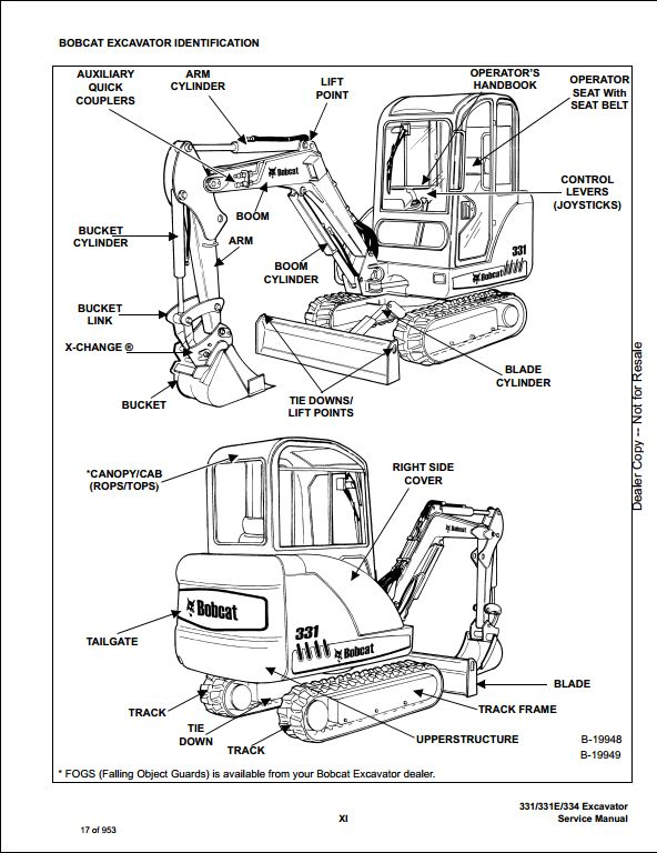 2007 Bobcat 331 331e 334 Mini Excavator Service Repair Workshop Manual 234313000