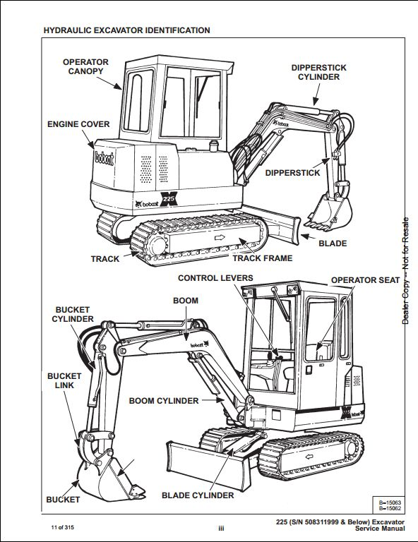 Bobcat X225 Mini Excavator Service Repair Workshop Manual 508311001