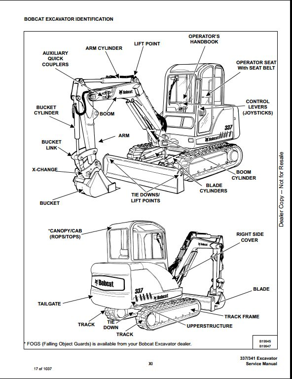 2007 Bobcat 337 341 Mini Excavator Service Repair Workshop Manual 234611001