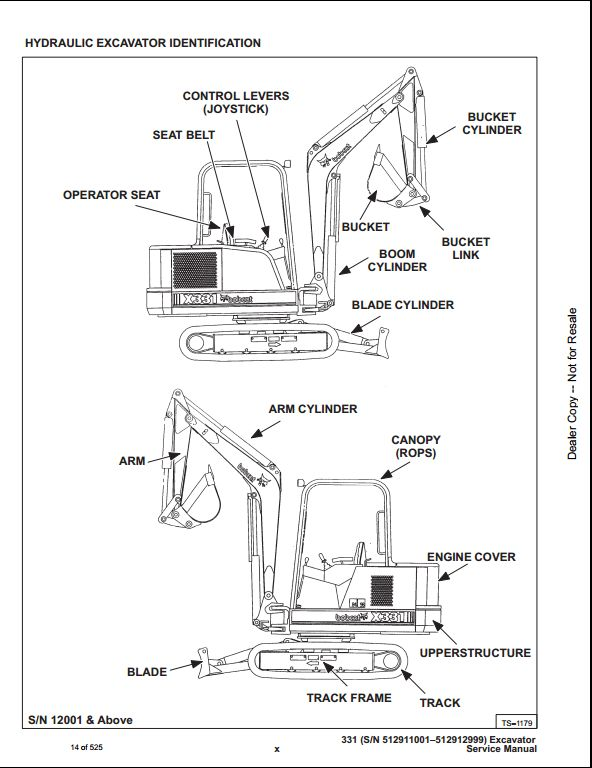 bobcat x331 mini excavator service repair workshop manual
