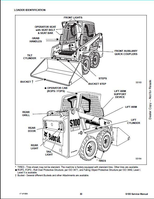 Bobcat S100 Skid Steer Loader Service Repair Workshop