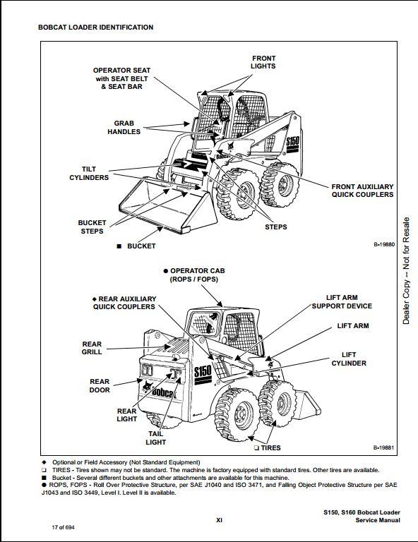 bobcat s150 s160 turbo skid steer loader service repair