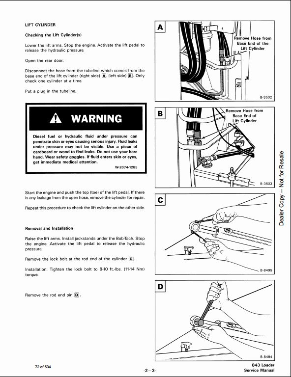 bobcat 843 843b skid steer loader service repair workshop manual a rh arepairmanual com Bobcat Wiring Schematic Bobcat Skid Steer Electrical Diagrams