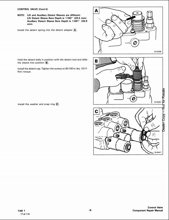 Bobcat Melroe Hydraulic Control Valve Service Repair Workshop Manual