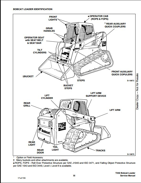 bobcat t250 turbo high flow track loader service repair workshop manual 523111001 523011001 a