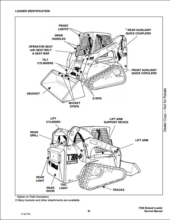 bobcat t300 turbo high flow track loader service repair workshop manual 521911001