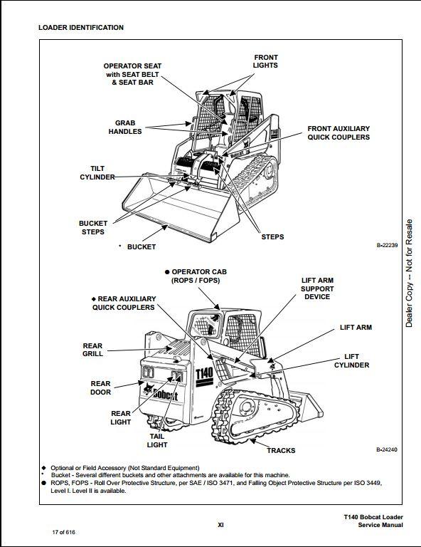 bobcat t140 turbo track loader service repair workshop manual 527111001