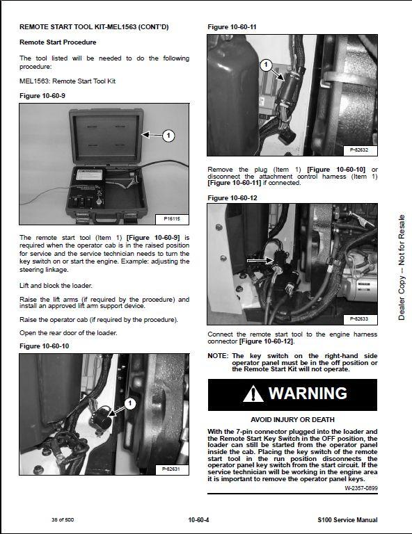 Bobcat S100 Skid Steer Loader Service Repair Workshop Manual 519611001