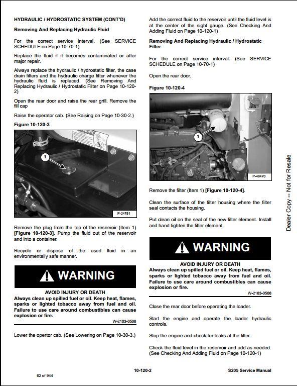 bobcat s205 skid steer loader service repair workshop manual rh arepairmanual com bobcat s205 manual for fuel service bobcat s205 manual for fuel service