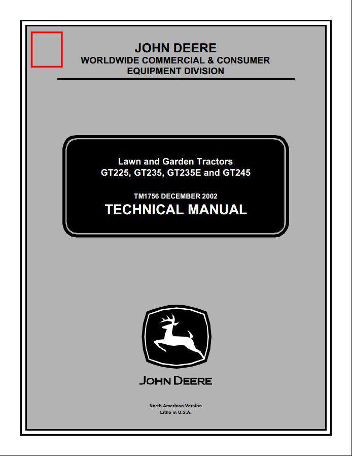 john deere service manual gt225 gt235 gt235e gt245 lawn