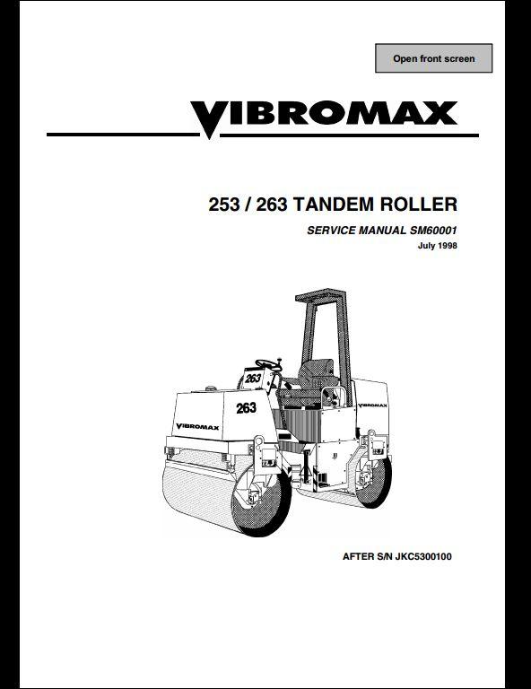 vibromax 253 263 tandem roller service repair workshop. Black Bedroom Furniture Sets. Home Design Ideas