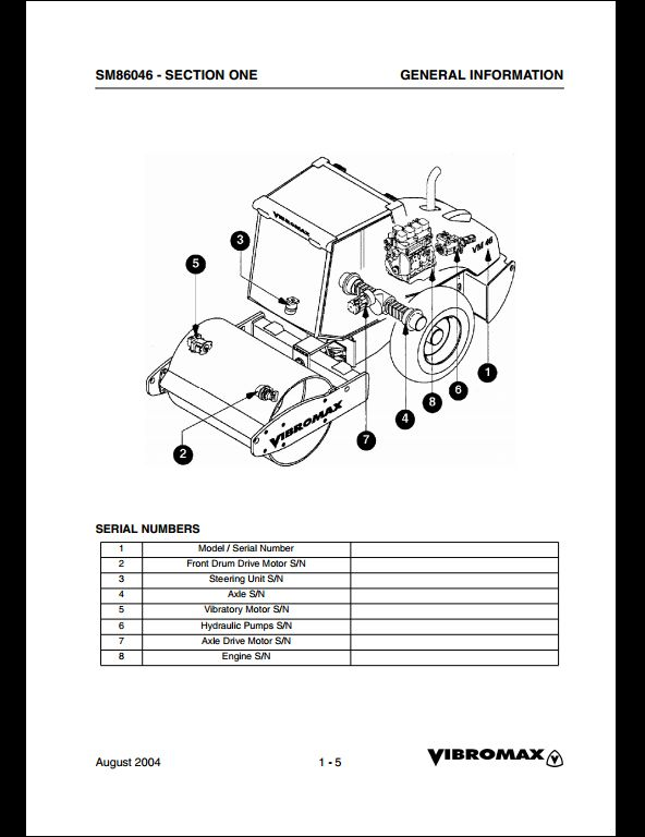 Vibromax VM 46 Sigle Drum Roller Service Repair Workshop