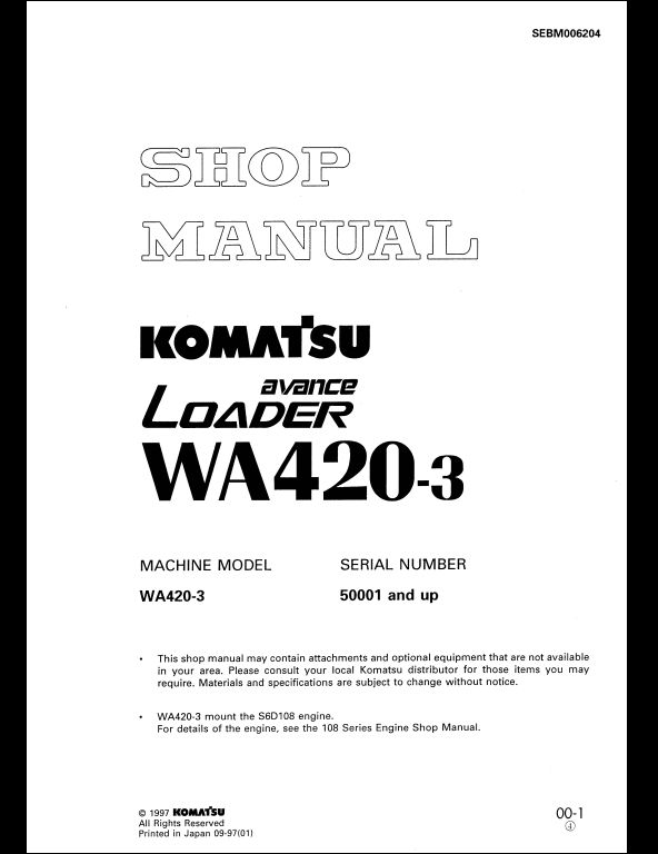 komatsu wheel loaders wa420 3 service repair workshop. Black Bedroom Furniture Sets. Home Design Ideas