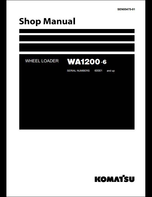 komatsu wa1200 3 wheel loader service repair manual download 50001 and up