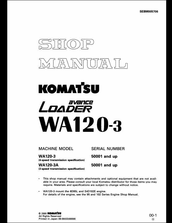 2000 Komatsu Wheel Loaders WA120-3 Service Repair Workshop Manual