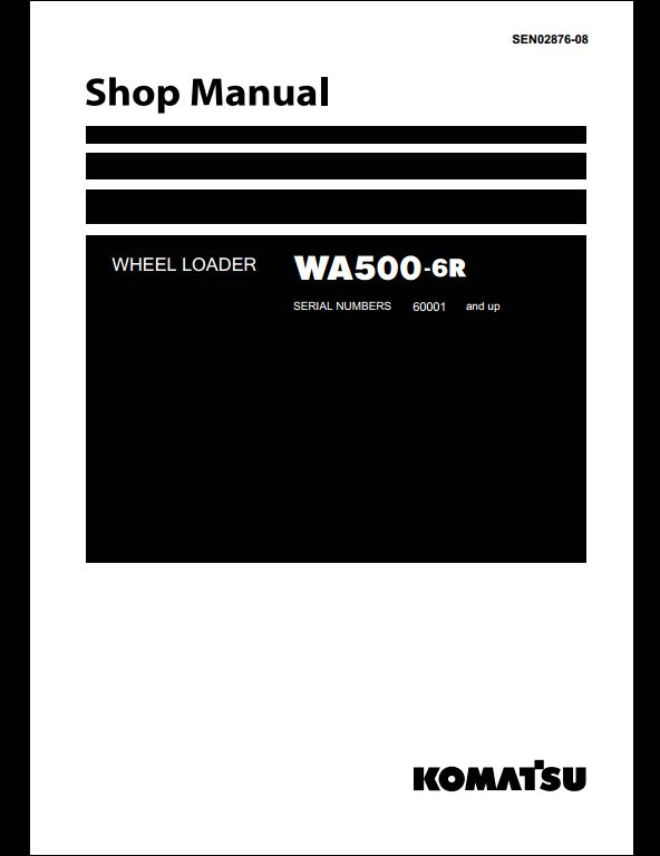 komatsu wheel loaders wa500 6 service repair workshop. Black Bedroom Furniture Sets. Home Design Ideas