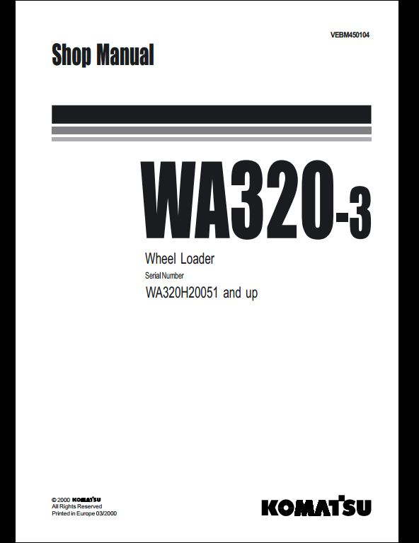 Komatsu Wheel Loaders WA320-3 Service Repair Workshop Manual