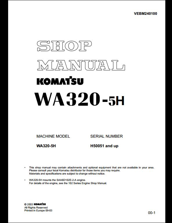 komatsu wa380 5 wheel loader service repair factory manual instant download sn 60001 and up