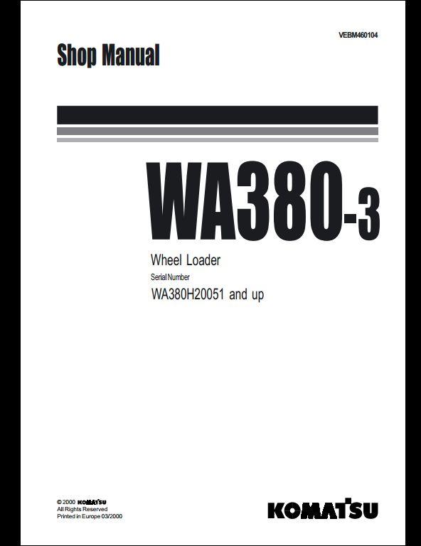 komatsu wheel loaders wa380 3 service repair workshop. Black Bedroom Furniture Sets. Home Design Ideas