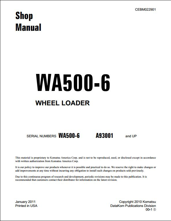 komatsu wa500 1 wheel loader service repair manual