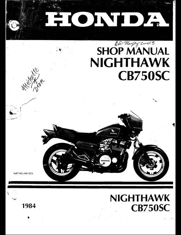 1984 honda nighthawk cb750sc motocycle service repair. Black Bedroom Furniture Sets. Home Design Ideas
