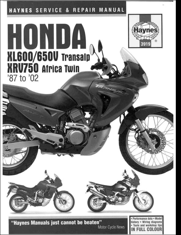 1987 2002 honda xl600 650 transalp xrv750 africa twin motocycle rh arepairmanual com
