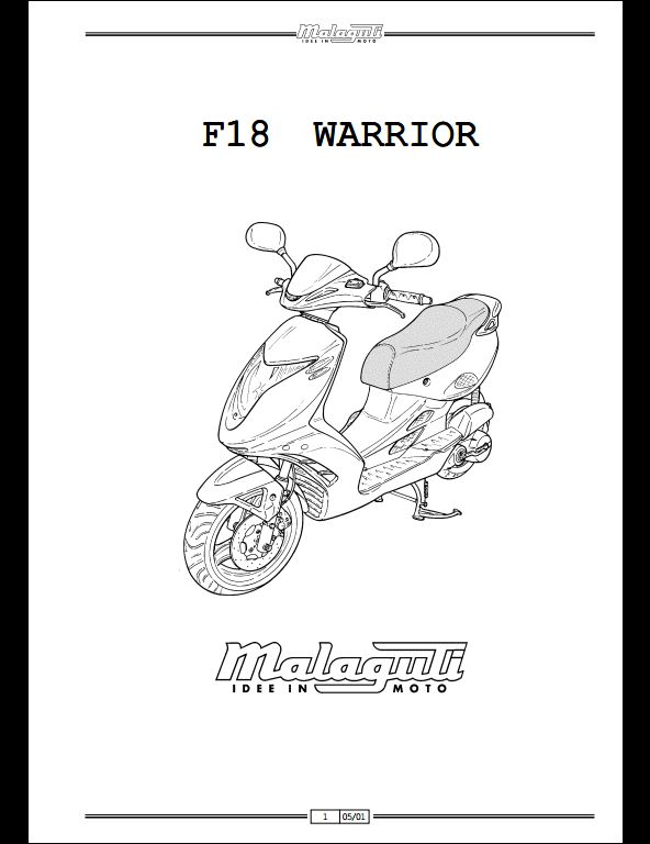 malaguti f18 warrior motocycle service repair workshop