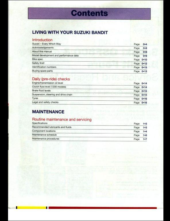 1995-2001 Suzuki GSF600/1200 Bandit Motocycle Service Repair Workshop Manual
