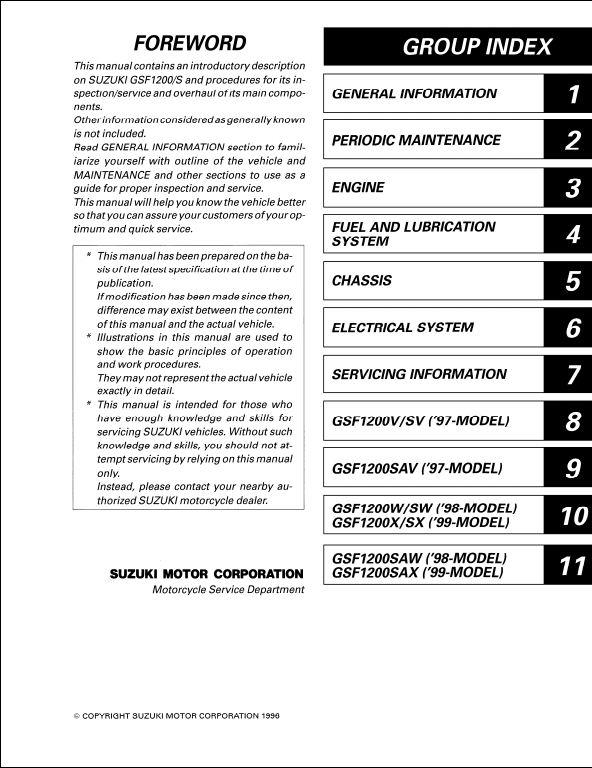1996 S Motocycle Service Repair