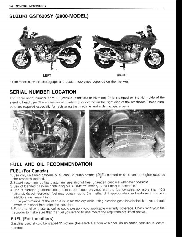 1999-2000 Suzuki GSF600S/GSF600 Motocycle Service Repair Workshop Manual