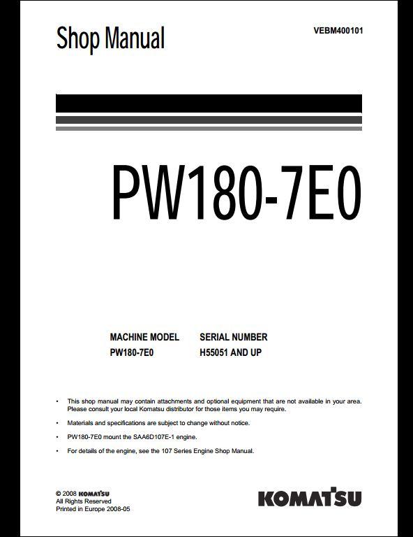 KOMATSU PW180-7E0 Wheeled Excavators Service Repair Workshop  Manual[VEBM400101]